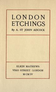 Cover of: London etchings
