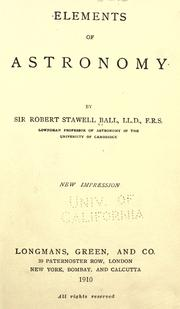 Cover of: Elements of astronomy