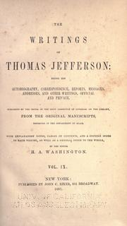 Cover of: The writings of Thomas Jefferson
