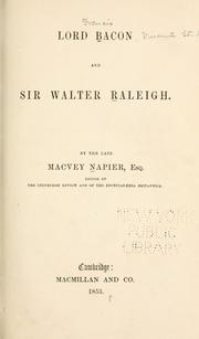 Cover of: Lord Bacon And Sir Walter Raleigh