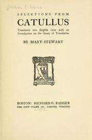 Cover of: Selections: Translated into English verse with an introd. on the theory of translation by Mary Stewart.