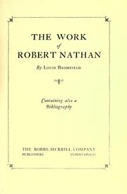 Cover of: The work of Robert Nathan: containing also a bibliography