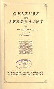 Cover of: Culture and restraint