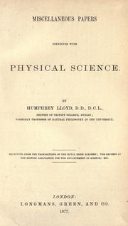 Cover of: Miscellaneous papers connected with physical science