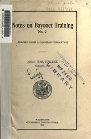 Cover of: Notes on bayonet training, no. 2