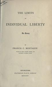 Cover of: The limits of individual liberty