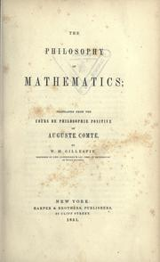 Cover of: The philosophy of mathematics