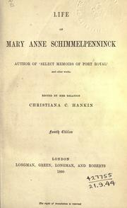 Cover of: Life of Mary Anne Schimmelpenninck ..