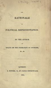 Cover of: The rationale of political representation