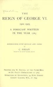 Cover of: The reign of George VI. 1900-1925