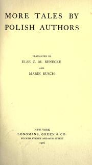 Cover of: More tales by Polish authors: tr. by Else C.M. Benecke and Marie Busch.