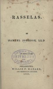 Cover of: Rasselas: a tale.