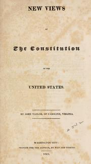 Cover of: New views of the Constitution of the United States