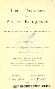 Cover of: Three dialogues on pulpit eloquence