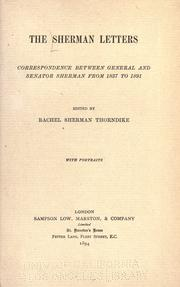 Cover of: The Sherman letters: correspondence between General and Senator Sherman from 1837 to 1891