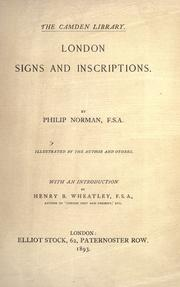 Cover of: London signs and inscriptions: With an introduction by Henry B. Wheatley