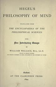 Cover of: Hegel's Philosophy of mind: being part three of the 'Encyclopaedia of the philosophical sciences' (1830)