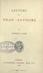 Cover of: Letters to dead authors