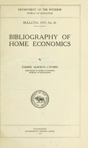 Cover of: Bibliography of home economics