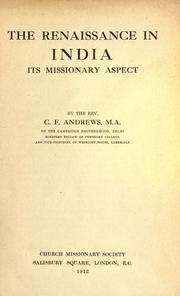 Cover of: The renaissance in India: its missionary aspect