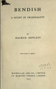 Cover of: Bendish: A Study In Prodigality