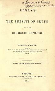 Cover of: Essays on the pursuit of truth and on the progress on knowledge