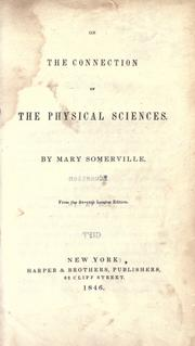 Cover of: On the connection of the physical sciences