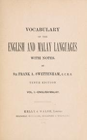 Cover of: Vocabulary of the English and Malay languages with notes