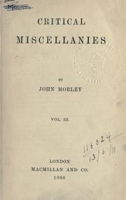 Cover of: Critical miscellanies