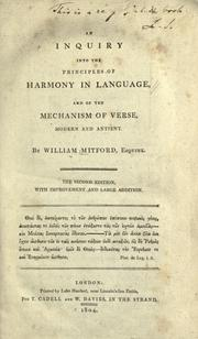 Cover of: An inquiry into the principles of harmony in language