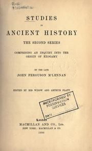 Cover of: Studies in ancient history