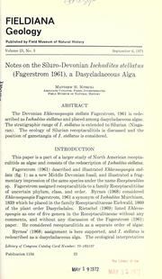 Cover of: Notes on the Siluro-Devonian Ischadites stellatus (Fagerstrom 1961)