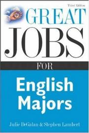 Cover of: Great Jobs for English Majors, 3rd ed. (Great Jobs Series)