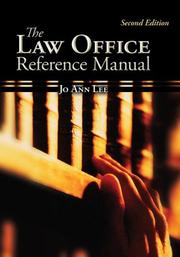 Cover of: The Law Office Reference Manual