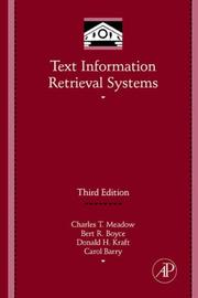 Cover of: Text Information Retrieval Systems, Third Edition (Library and Information Science) (Library and Information Science)