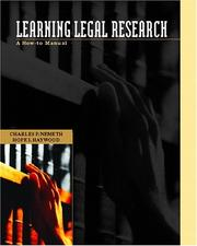 Cover of: Learning Legal Research