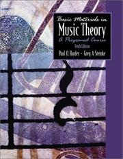 Cover of: Basic Materials in Music Theory