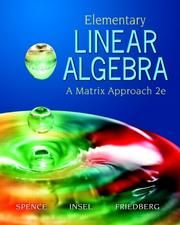 Cover of: Elementary Linear Algebra (2nd Edition)