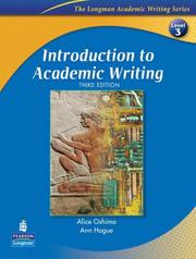 Cover of: Introduction to Academic Writing, Third Edition (The Longman Academic Writing Series, Level 3)