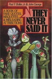 Cover of: They Never Said It