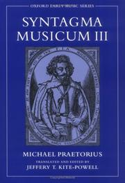 Cover of: Syntagma Musicum III (Oxford Early Music Series)