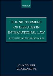 Cover of: The Settlement of Disputes in International Law