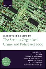 Cover of: Blackstone's Guide to the Serious Organised Crime and Police Act 2005 (Blackstone's Guide)