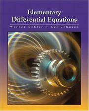 Cover of: Elementary Differential Equations