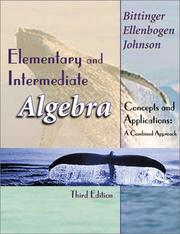 Cover of: A Elementary and Intermediate Algebra
