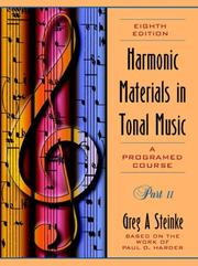 Cover of: Harmonic Materials in Tonal Music, a Programmed Course