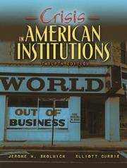 Cover of: Crisis in American Institutions, 12th Edition