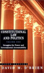 Cover of: Constitutional Law and Politics, Volume 1