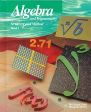 Cover of: Algebra and Trigonometry Structure and Method