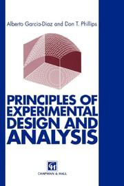 Cover of: Principles of Experimental Design and Analysis
